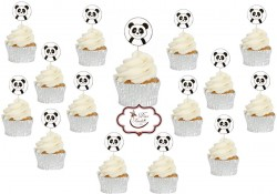 Toppers Panda Cupcakes 15 unidades